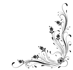 Wall Mural - Decorative floral corner ornament with butterfly for stencil isolated on white background