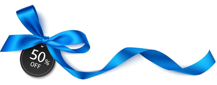 Decorative blue bow with black price tag isolated on white. Vector illustration