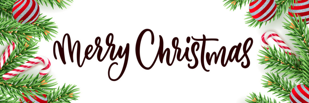 Merry Christmas calligraphy lettering banner white background. Vector 3d realistic illustration of green pine branches