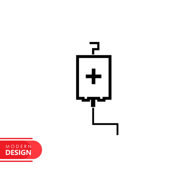 infusion bag line icon with modern design, isolated on white background. flat style for graphic design template. suitable for logo, web, UI, mobile app. vector illustration