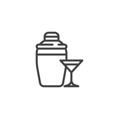 Cocktail shaker and glass line icon. linear style sign for mobile concept and web design. A glass of Martini and shaker outline vector icon. Bar equipment symbol, logo illustration. Vector graphics