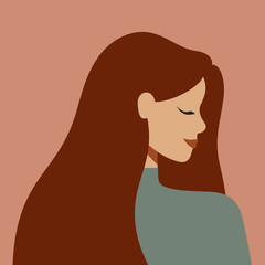 Portrait of an Caucasian woman in profile with long hair. Avatar of young white girl with the chestnut hair. Vector illustration