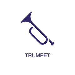 Trumpet element in flat simple style on white background. Trumpet icon, with text name concept template