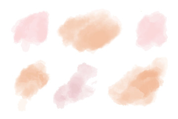 Fotobehang -  orange and soft pink watercolor splotch. Beautiful watercolor backgrounds Vector