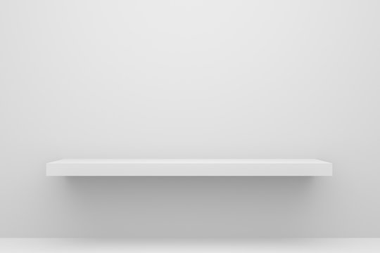 Front view of empty shelf on white table and wall background with modern minimal concept. Display of backdrop shelves for showing. Realistic 3D render.