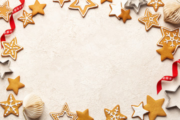 Christmas food background with traditional gingerbread cookies and Christmas decoration
