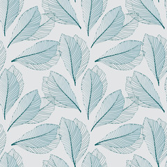 graphic leaves outlined light blue