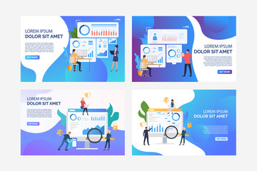 Set of illustrations of business people analysing marketing. Finance, graph, statistics. Flat vector. Marketing analysis concept banner, website design or landing web page