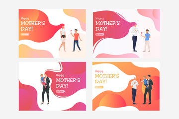 Set of illustrations of children giving their mothers flower. Happy mother day, family, calligraphy. Flat vector. Holiday concept for banner, website design or landing web page