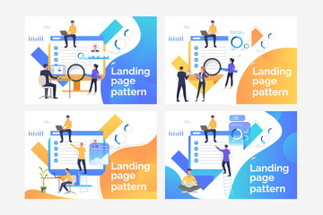Set of illustrations with people selecting worker for appointing. Analysis, planning. Flat vector. Recruitment concept for banner, website design or landing web page