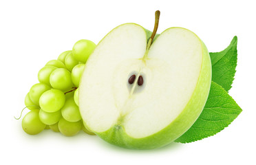 Cutted apple with grape isolated on a white background.
