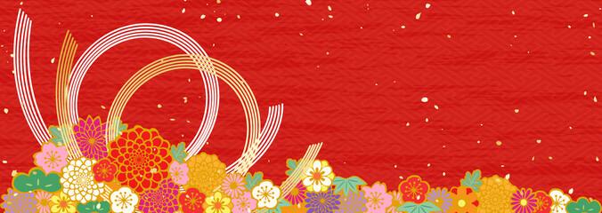新年 松 紅白 梅 水引 生け花
