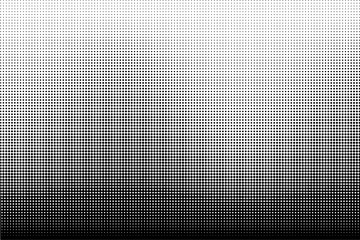 Vertical gradient halftone dots background. Black and white halftone dots texture Vector illustration