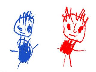 dziecięcy rysunek przedstwia dwie postacie w różnych kolorach