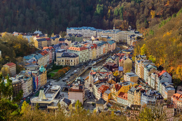 Karlovy Vary, Czech Republic - October 30, 2017: Embankment in the center of the city