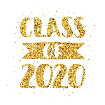 Class of 2020. Hand drawn brush lettering Graduation logo. Template for graduation design, party, high school or college graduate, yearbook. Modern calligraphy. Vector illustration.