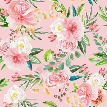Beautiful floral seamless, tileable, watercolor pattern roses and peonies on pink background