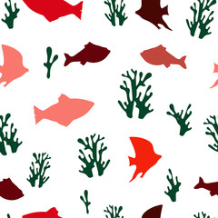Seamless pattern: isolated multi-colored fish and corals on a white background. flat vector. illustration