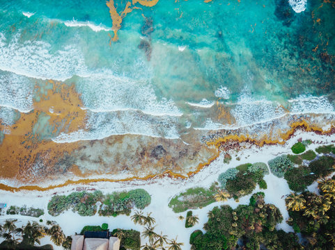 Aerial Picture of the Akumal Bay in Quintana Roo, Mexico during Sunset