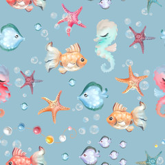Cute and beautiful seamless pattern - fishes, seahorses and starfishes. Underwater life