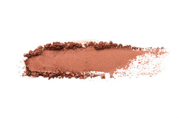 Eyeshadow sample isolated on white background. Crushed brown metallic eyeshadow. The concept of fashion and beauty industry. - Image