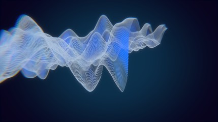 Fotorolgordijn Abstract wave Geometric background. Abstract highlights future. Architectural background. 3D illustration