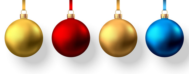 Fotomurales - Realistic  gold, red, blue  Christmas  balls  isolated on white background.