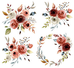 Set with watercolor flowers roses, leaf. Floral illustration perfectly for greetings card, wedding invitation, poster, stickers and other printing. Isolation on white background. Hand painting.
