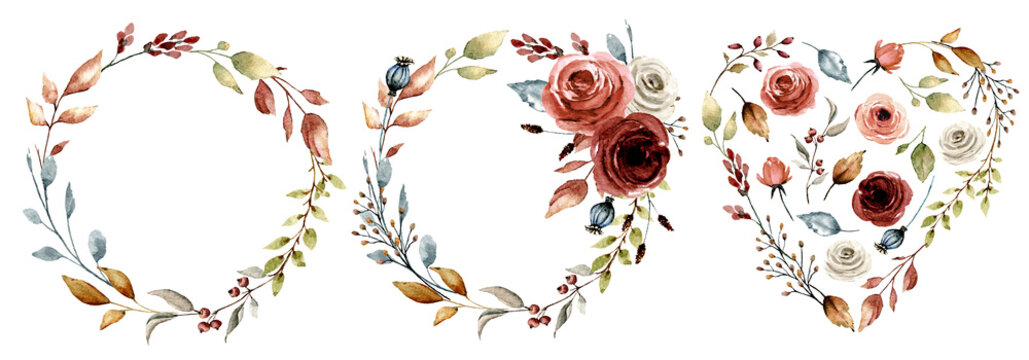 Set wreaths, heart with watercolor flowers roses. Hand painting floral frames. For greeting card, wedding invitation, poster, stickers and other printing. Isolation on white.