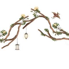 Beautiful hand drawn tree with flowers, lanterns and bird
