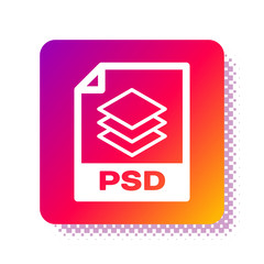 White PSD file document. Download psd button icon isolated on white background. PSD file symbol. Square color button. Vector Illustration