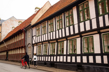 AARHUS, DENMARK: Beautiful buildings in the historic center of the city.