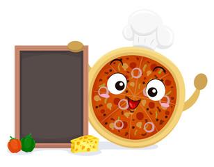 Mascot Pizza Chef Board Illustration