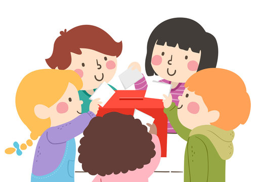 Kids Poll Vote Box Illustration