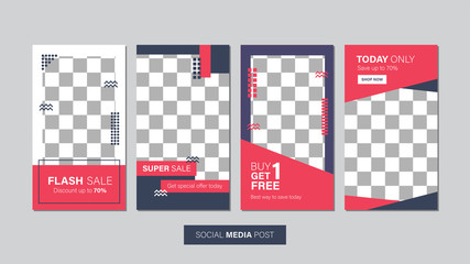 Sale mobile template collection for promotion sale. Editable mobile banner for stories or social media post, web and internet. Promotion sale bundle