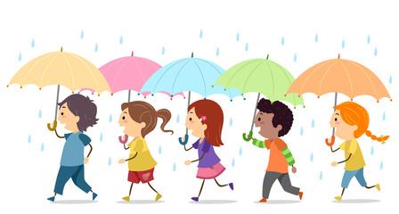 Stickman Kids Umbrella Rain Illustration