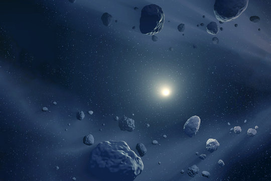 Asteroids flying in space, through the dust. Elements of this image furnished by NASA