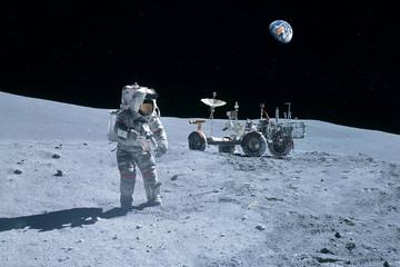 Astronaut near the moon rover on the moon. With land on the horizon. Elements of this image were furnished by NASA. Fototapete