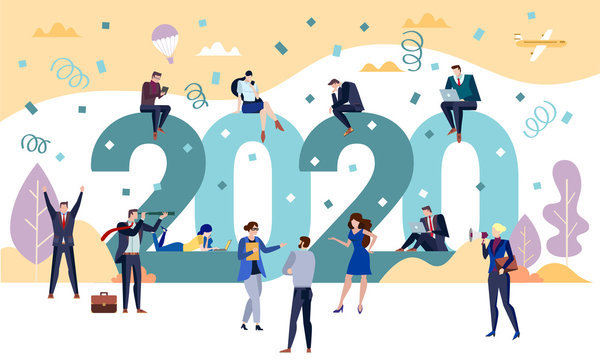 2020 New Year Business party concept with men and women celebrating the holiday season