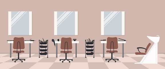 Hair salon in a cocoa color. Beauty salon. Interior. There are tables, chairs, a bath for washing the hair, mirrors, hair dryer in the image. Vector flat illustration