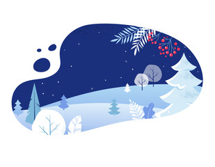 Winter Landscape Background. Christmas banner. Flat Vector Illustration