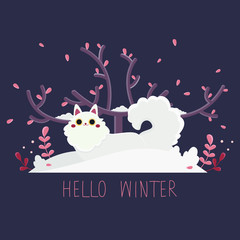 Flat vector illustration with a cartoon kawaii white cat which sits in the snow. A kitty with big eyes sits near a sitting under a big tree. Greeting card with text: Hello Winter