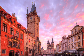 Wall Mural - Old Town Hall located in Old Town Square. Prague, Czech Republic.