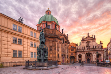Wall Mural - Statue of King Charles IV and Saint Francis Of Assissi Church in Prague, Czech Republic.