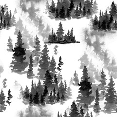 Winter Black and White Watercolor Seamless Pattern of Conifer Tree, Monochrome Snow Woodland