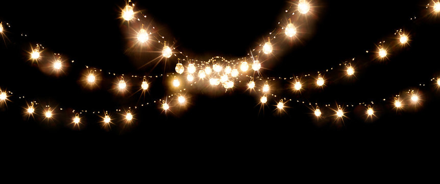 Christmas of wedding lights isolated on black background