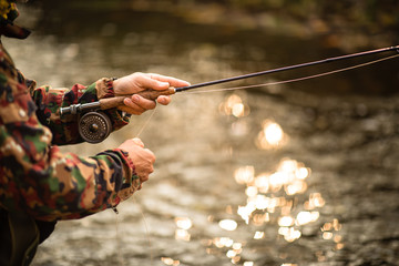 Close-up view of the hands of a fly fisherman working the line and the fishing rod while fly fishing on a splendid mountain river for rainbow trout