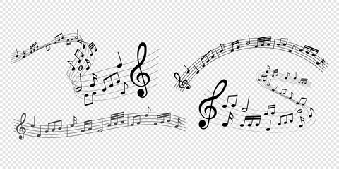 musical notes melody on transparent background