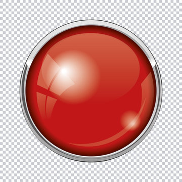 red round button isolated on transparent background