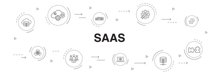 SaaS Infographic 10 steps circle design.cloud storage, configuration, software, database simple icons